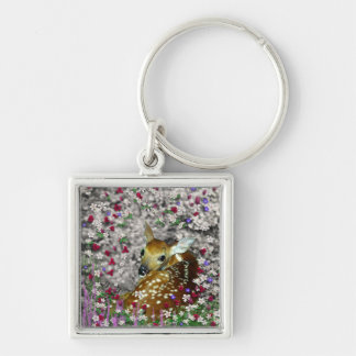 Bambina the White-Tailed Fawn in Flowers I Silver-Colored Square Keychain