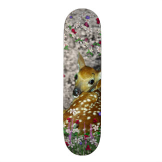 Bambina the White-Tailed Fawn in Flowers I Skateboard
