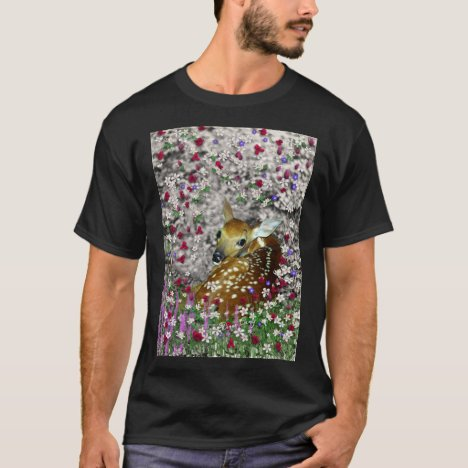 Bambina the White-Tailed Fawn in Flowers I T-Shirt