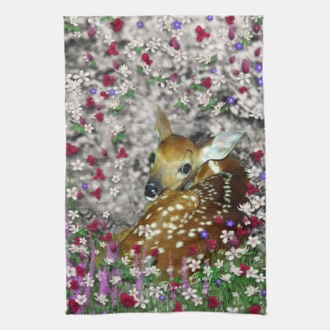 Bambina the White-Tailed Fawn in Flowers I Towel