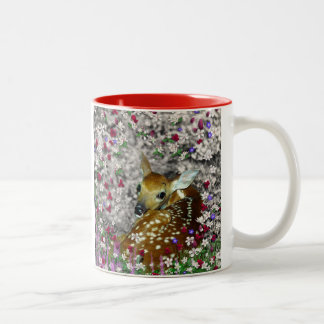 Bambina the White-Tailed Fawn in Flowers I Two-Tone Coffee Mug