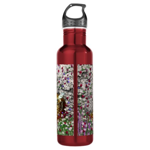 Bambina the White-Tailed Fawn in Flowers I Water Bottle