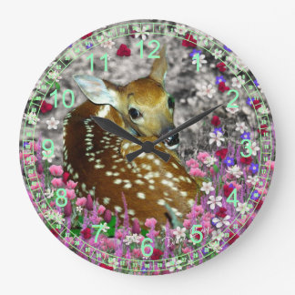 Bambina the White-Tailed Fawn in Flowers II Large Clock