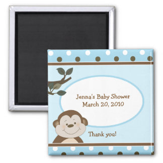 Bambino Cute Monkey Blue Favor Baby Shower Magnet