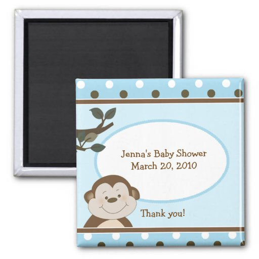 Bambino Cute Monkey Blue Favor Baby Shower Magnet
