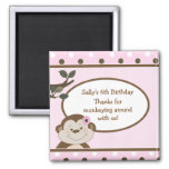 Bambino Cute Monkey Pink Favor BIrthday Magnet