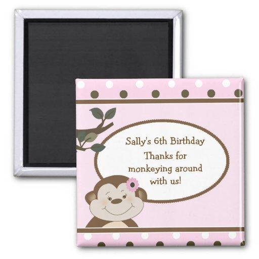 Bambino Cute Monkey Pink Favor BIrthday Magnet