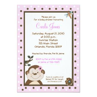Bambino GIRL Pink Monkey Baby Shower Invites