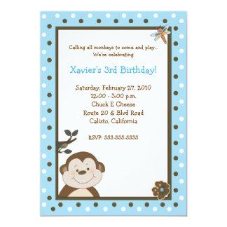 Bambino Monkey 5x7 Blue Birthday Invitations
