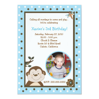 Bambino Monkey 5x7 Blue PHOTO Birthday Card