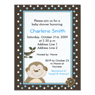 Bambino Monkey Brown/Blue Baby Shower Card