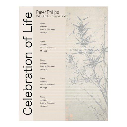 bamboo 1 memorial guest book binder filler pages