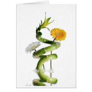 Bamboo and gerbera daisies greeting card