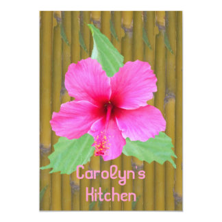 Bamboo and Hibiscus Recipe Cards Personalized Announcements