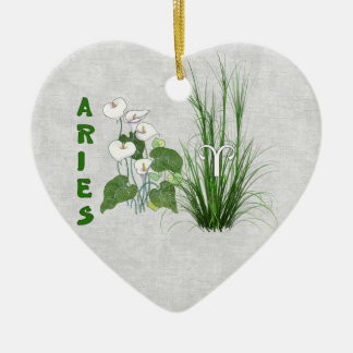 Bamboo and Lily Aries Ceramic Ornament