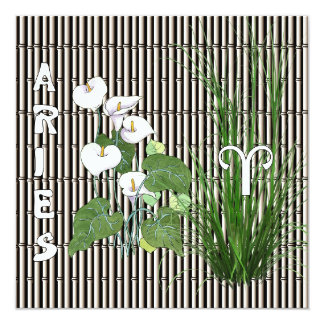 Bamboo and Lily Aries 5.25x5.25 Square Paper Invitation Card