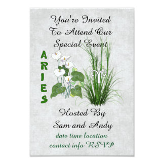 Bamboo and Lily Aries 3.5x5 Paper Invitation Card