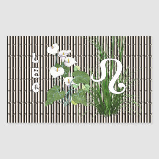 Bamboo and Lily Leo Rectangular Sticker
