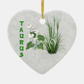 Bamboo and Lily Taurus Ceramic Ornament