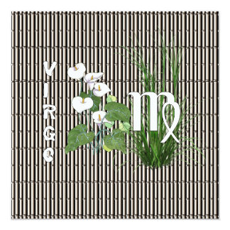 """Bamboo and Lily Virgo 5.25"""" Square Invitation Card"""