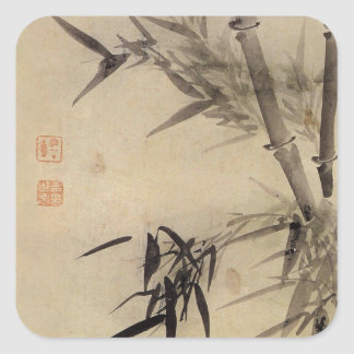 Bamboo and Orchid - Gang Self (1713-1791) Square Sticker