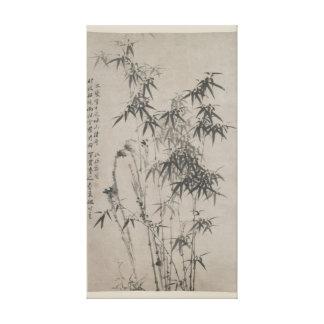 Bamboo and Rocks - Zheng Xie (1755 - 1765) Canvas Print