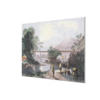Bamboo Aqueduct at Hong Kong, engraved by Henry Ad Canvas Print