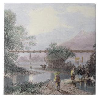 Bamboo Aqueduct at Hong Kong, engraved by Henry Ad Ceramic Tile