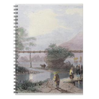 Bamboo Aqueduct at Hong Kong, engraved by Henry Ad Spiral Notebook