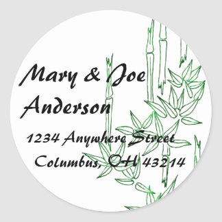 Bamboo Asian Themed Return Address Labels Round Stickers