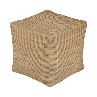 Bamboo Beach Mat Cube Pouf