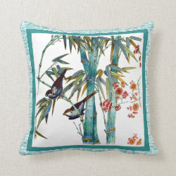 Bamboo, Birds and Text Throw Pillow