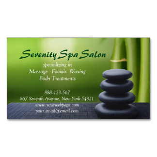 Bamboo Black Stone Massage Spa Salon Business Card Magnet