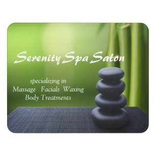 Exceptionnel Bamboo Black Stone Massage Spa Salon Door Sign
