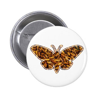 Bamboo Borer Moth Life Cycle Silhouette Pinback Button