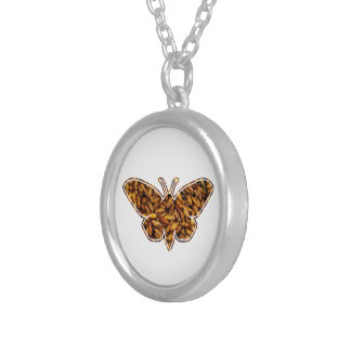 Bamboo Borer Moth Life Cycle Silhouette Silver Plated Necklace