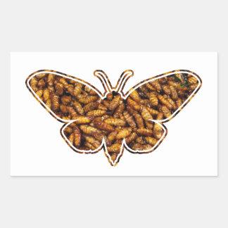 Bamboo Borer Moth Life Cycle Silhouette Rectangular Sticker