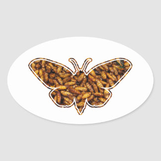Bamboo Borer Moth Life Cycle Silhouette Oval Sticker