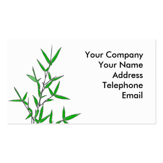 Bamboo Branch with Green Leaves Business Card
