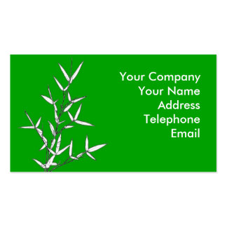 Bamboo Branch with Leaves on Green Business Card