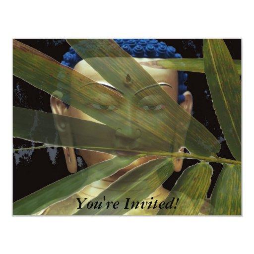"""Bamboo Buddha 4.25"""" X 5.5"""" Invitation Card"""