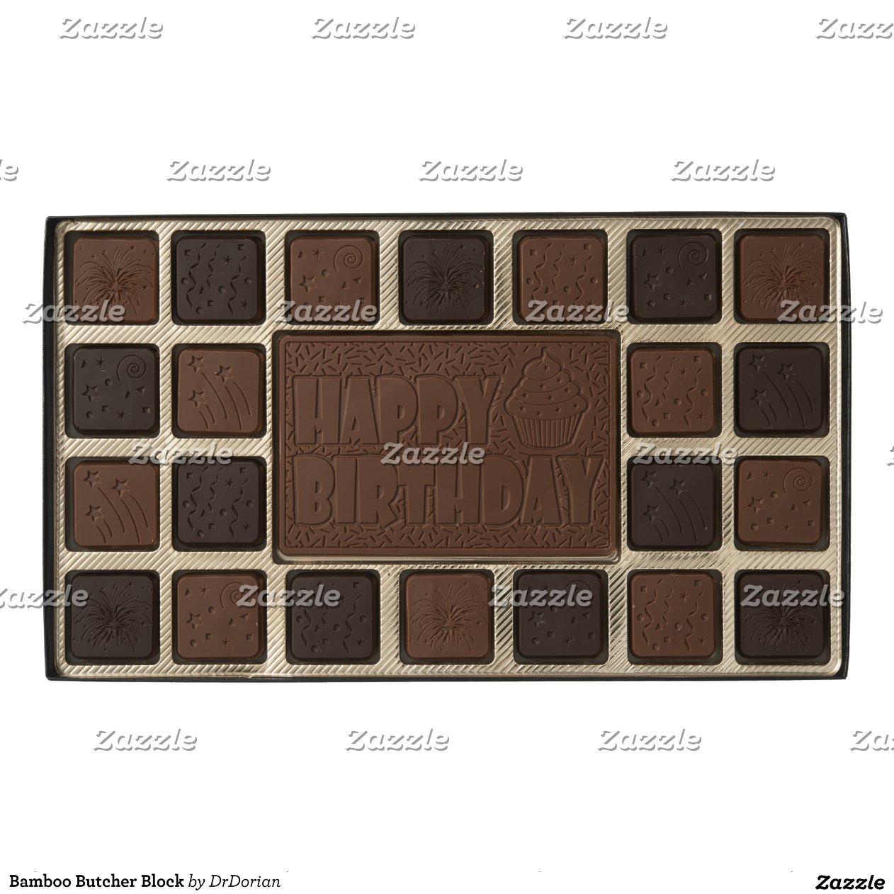bamboo butcher block 45 piece assorted chocolate box zazzle