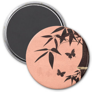 Bamboo butterflies coral 3 inch round magnet