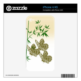 Bamboo Butterflies Iphone 4 4S Skin Decals For The iPhone 4S