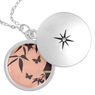 Bamboo butterflies peach round locket necklace