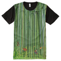 Bamboo & Butterfly Art 1 All-Over Print T-shirt