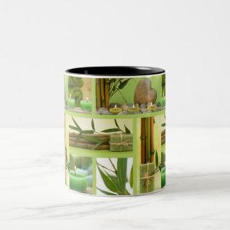 Bamboo Candle & Leaf  Collage Two-Tone Coffee Mug
