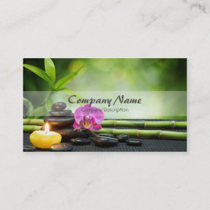 Massage therapy business cards templates zazzle bamboo candle stone orchid spa massage therapy business card reheart Image collections