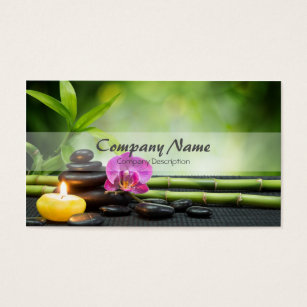 Massage therapy business cards templates zazzle bamboo candle stone orchid spa massage therapy business card flashek Choice Image
