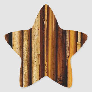 bamboo canes wood Natural Brown Texture Style Fash Star Sticker